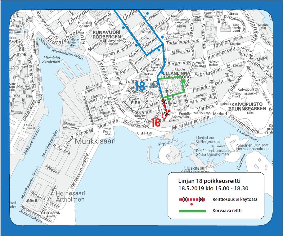 Bussi 18 kääntyy takaisin ennen normaalia päätepysäkkiään lauantaina 18.5.
