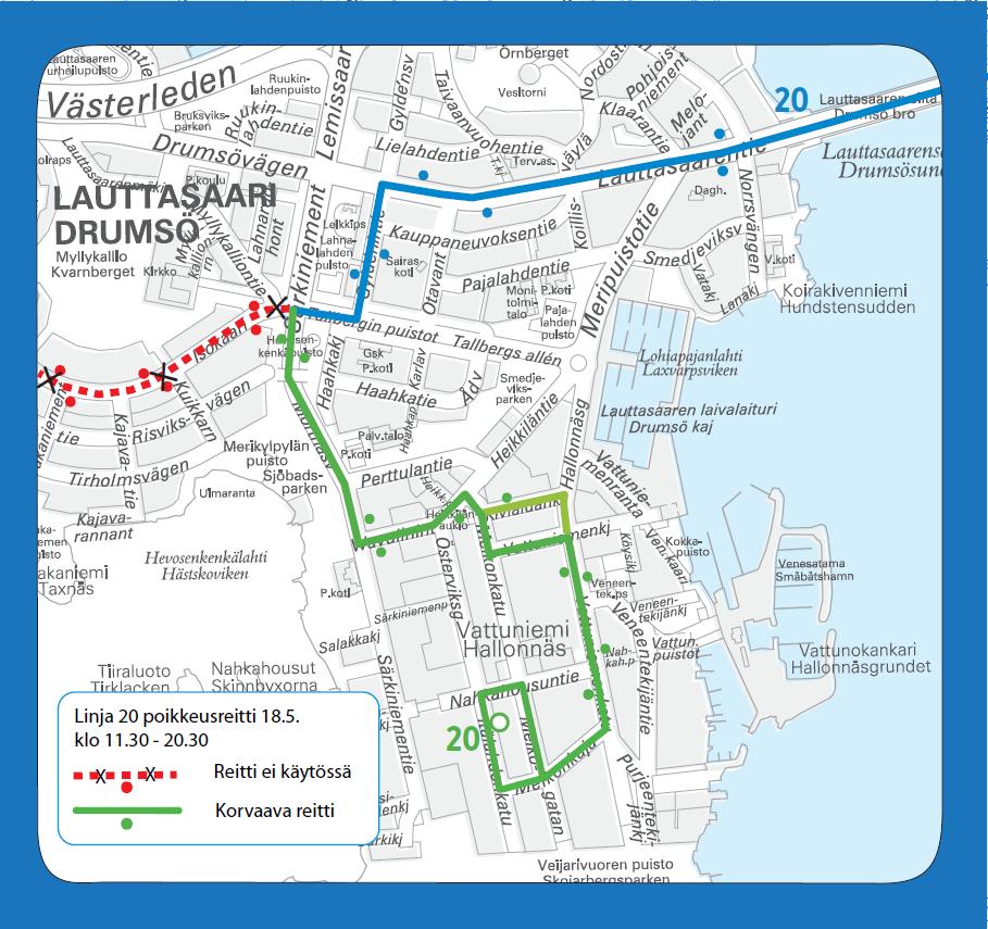 Linja 20 poikkeusreitillä Lauttasaaressa lauantaina 18.5.