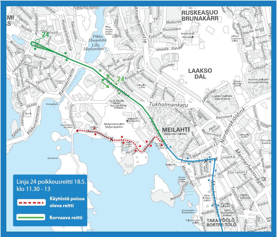 Bussi 24 ei aja Seurasaareen lauantaina 18.5. klo 11.30-13