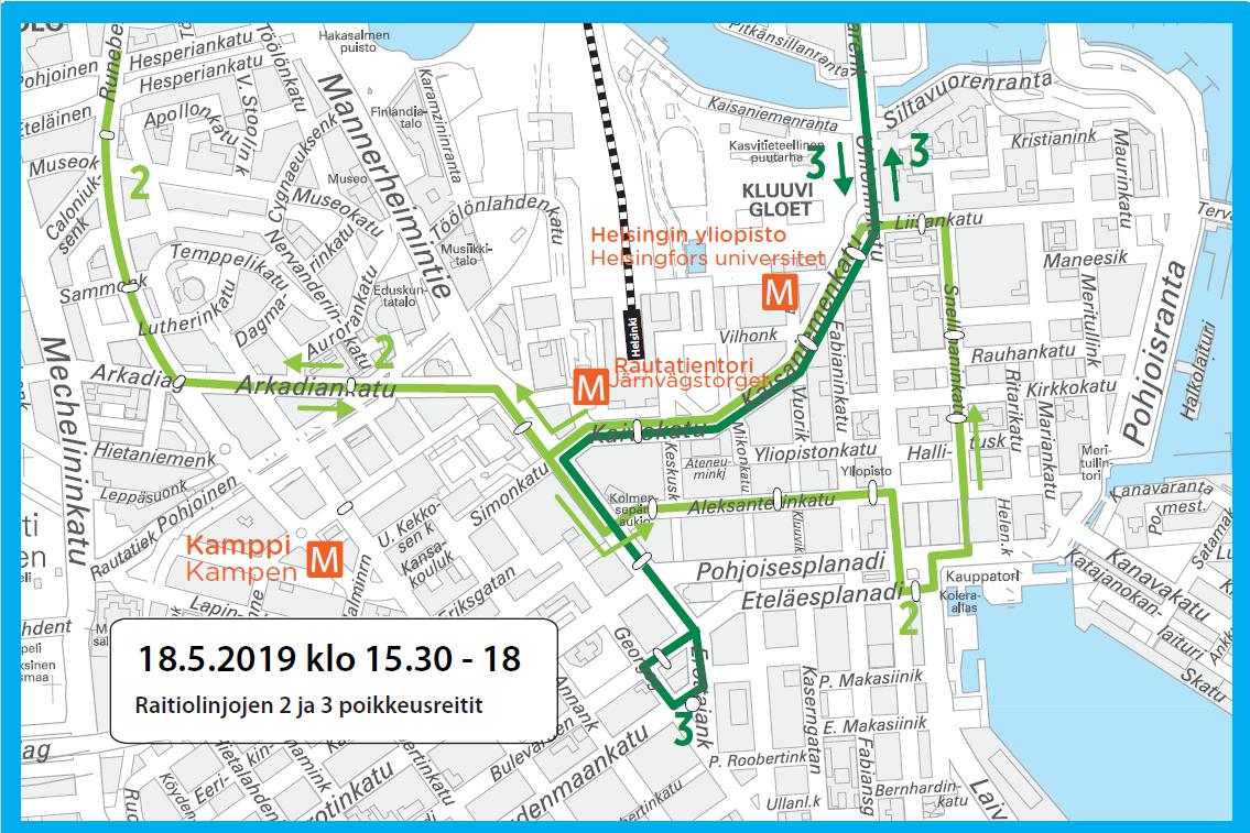 Raitiolinjat 2 ja 3 kääntyvät ympäri Rautatieaseman alueella lauantaina 18.5.