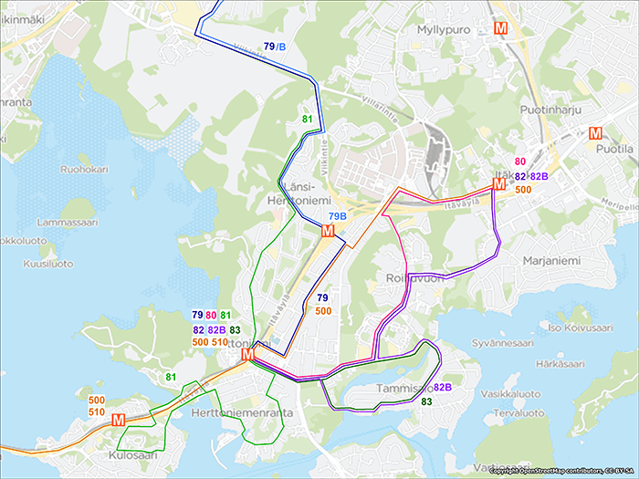 Herttoniemi bus network