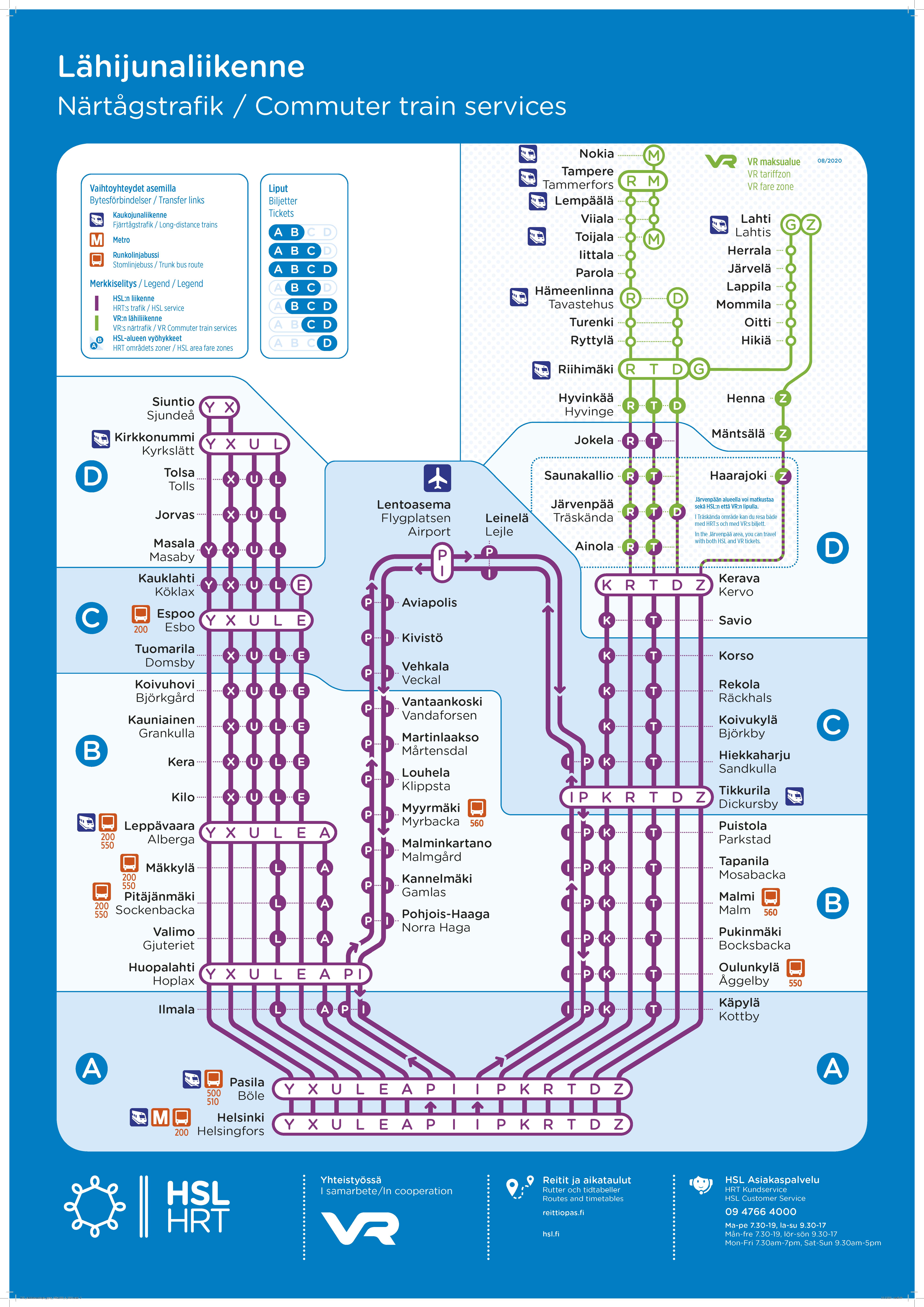 HSL:n lähijunien reitit ja aikataulut myös Reittioppaasta