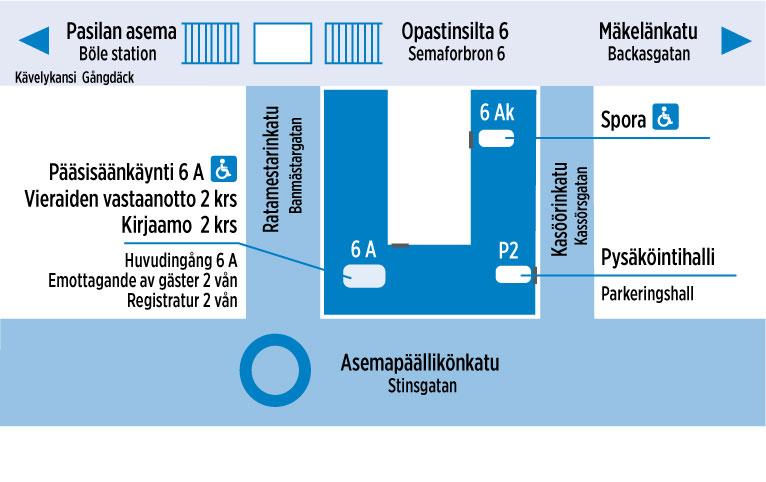 Kartta HSL:n päätoimipisteestä