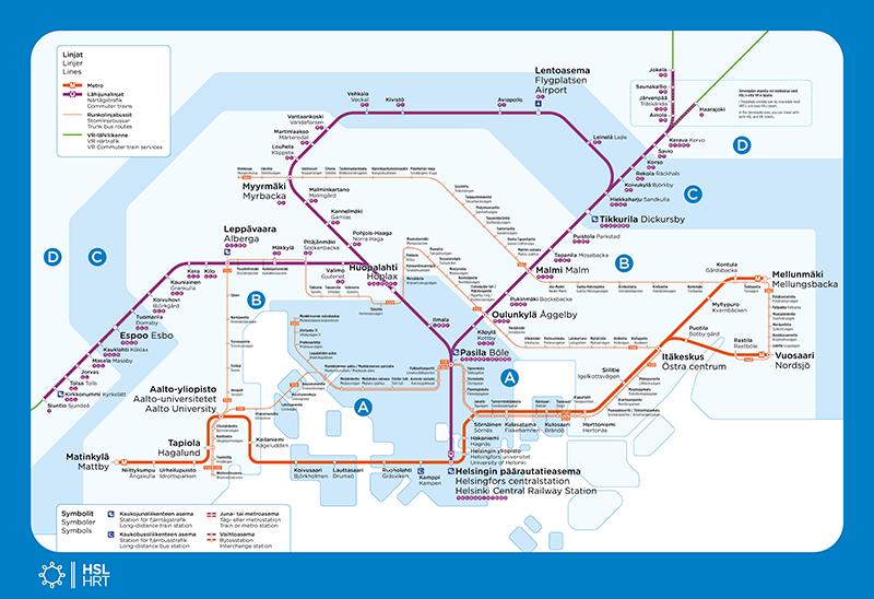 HSL:n runkolinjasto kartalla. Tiedot myös Reittioppaassa.