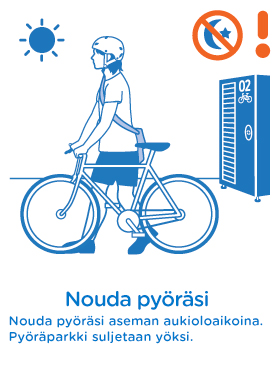 Nouda pyöräsi aseman aukioloaikoina. Pyöräparkki suljetaan yöksi.