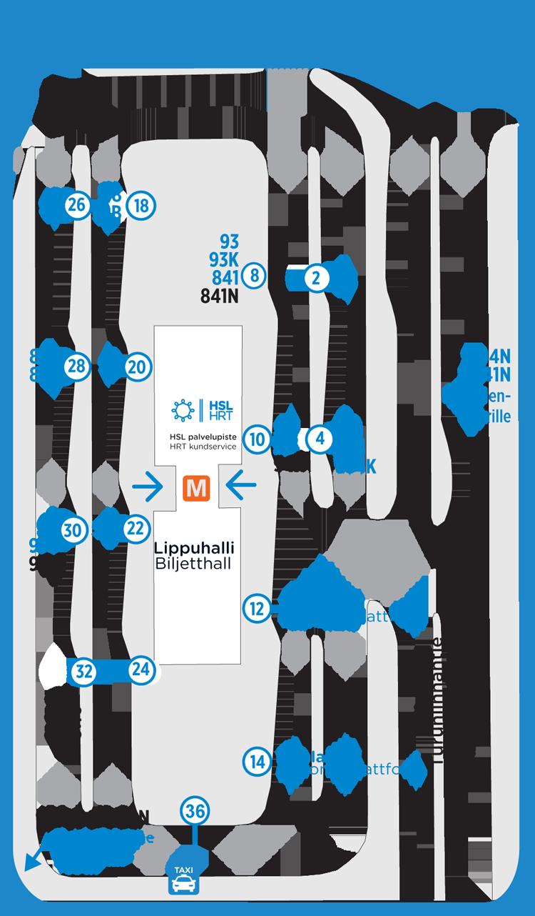 Itäkeskuksen bussien lähtölaiturit 15.8.2016 alkaen