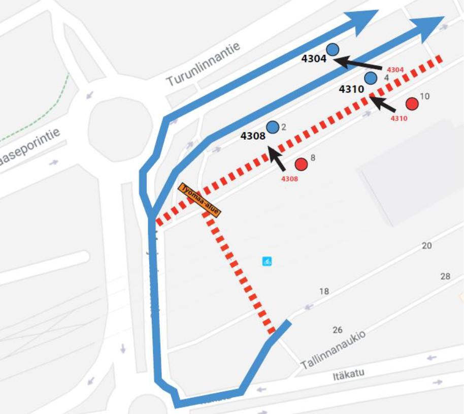 Itäkeskuksen bussiterminaalissa pysäkkisiirtoja to-pe 26.-27.9. yöllä