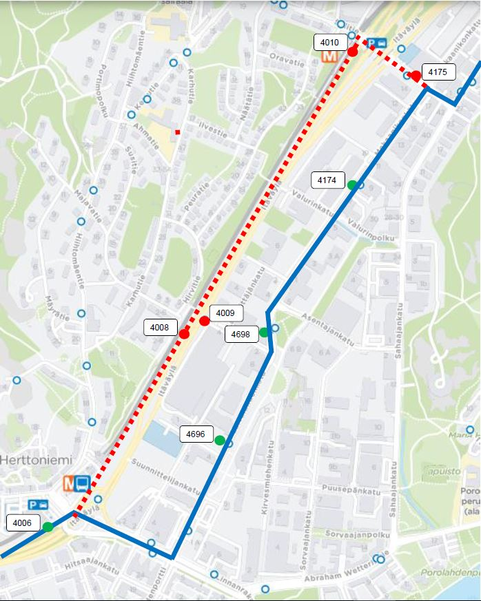 Route change for bus 58 in Herttoniemi from 23 April | HSL