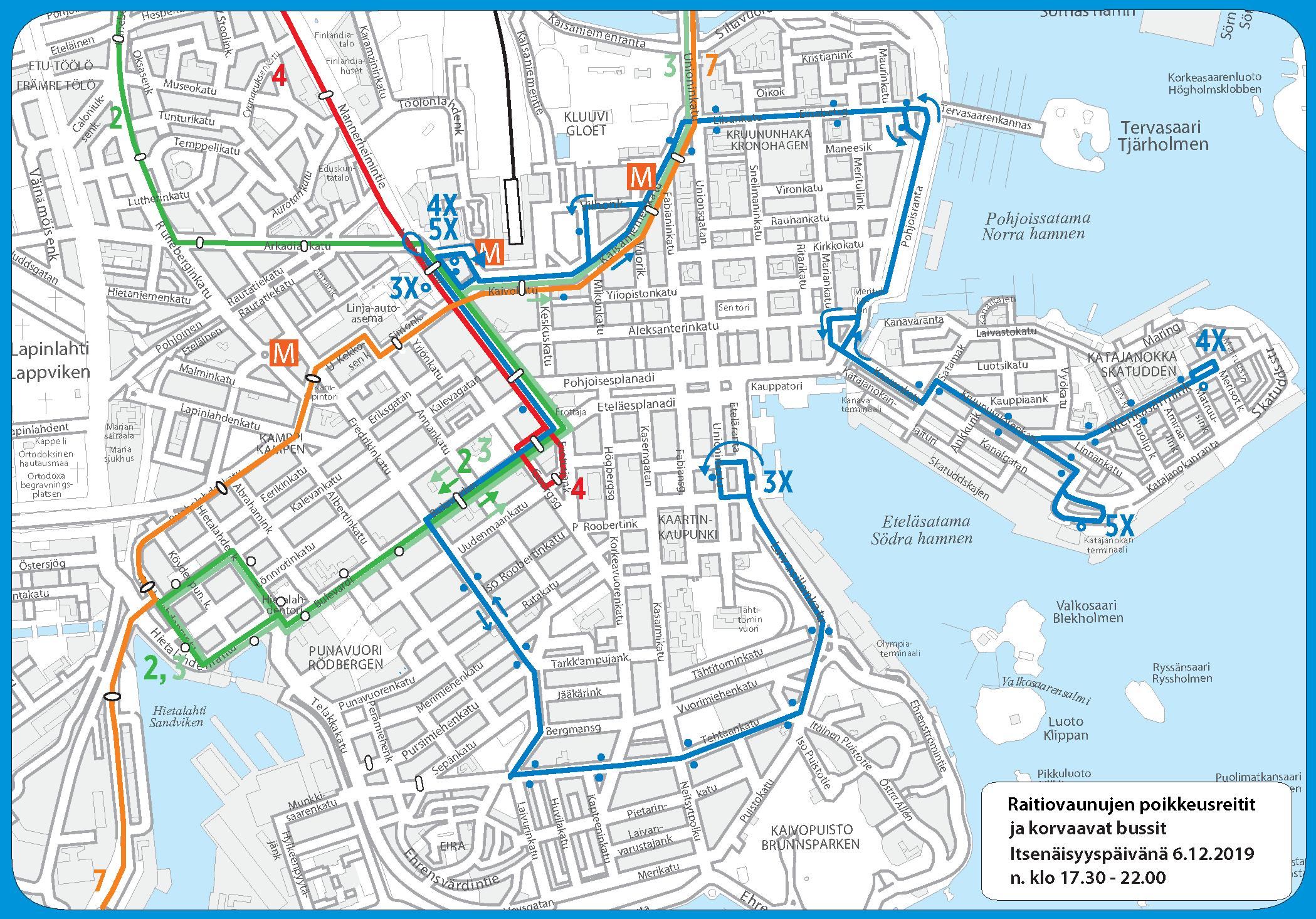 Tapahtuman aikana klo 17.30 – 22.00 raitiolinjat 2, 3, 4 ja 7 ajavat poikkeusreittejä. Linja 5 ei liikennöi. Eirassa ja Katajanokalla raitioliikennettä korvataan busseilla.