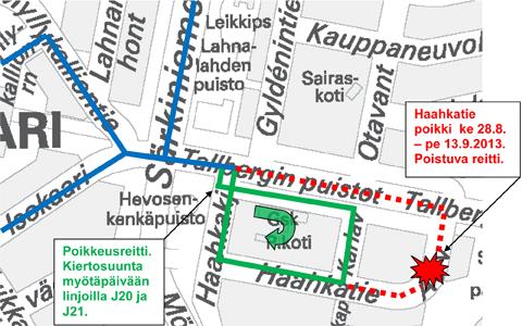 Jouko-linjojen poikkeusreitti kartalla