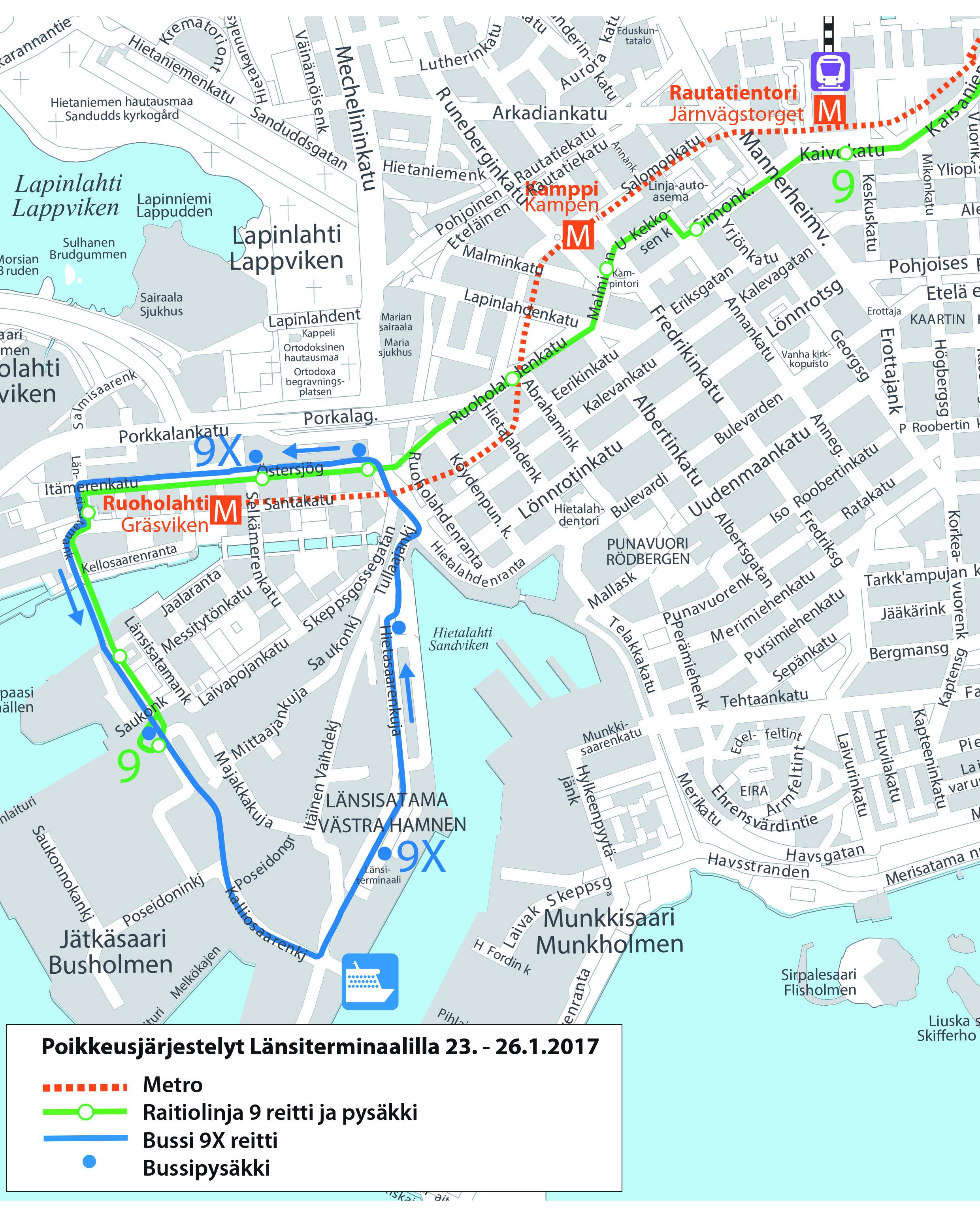 Raitiolinjan 9 ja korvaavan bussilinjan 9X reitti Länsisatamassa 23.-26.1.2017