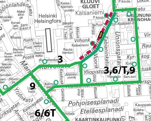 Raitiovaunujen poikkeusreitit Kaisaniemenkadulla klo 5-6.30