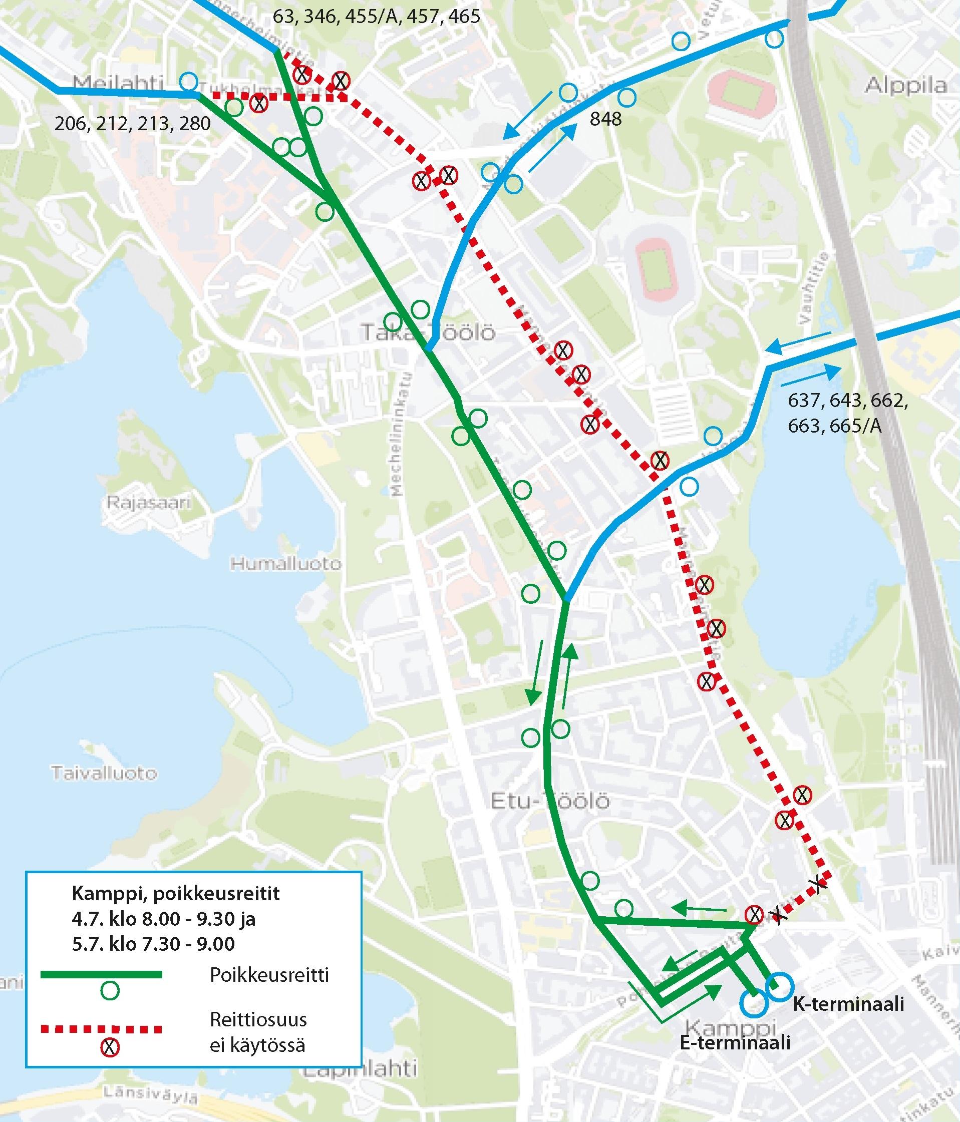 Kampista liikenneidään Runeberginkadun kautta