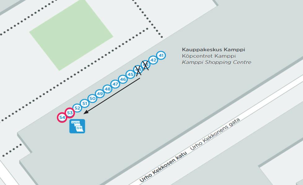 Kampin lähiliikenneterminaalin laiturit 43 ja 44 siirtyvät 27.7-2.8. väliseksi ajaksi
