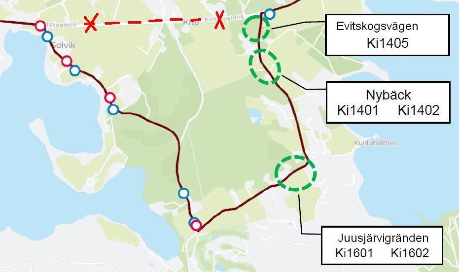 Karta över hållplatser längs Juusjärvivägen