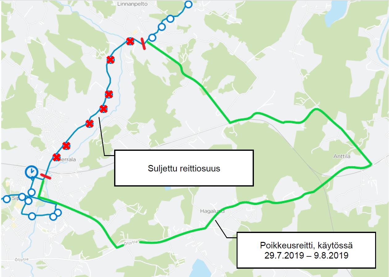 Pornaistentie suljetaan 29.7.-9.8. - poikkeusreittejä linjoille 787(A/K), 841N ja 987