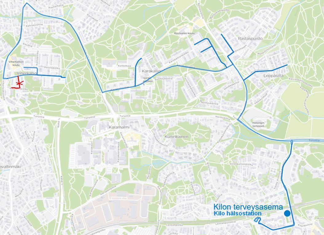 Kartta lähibussin 229 uudesta reitistä Viherlaakson ja Kilon välillä