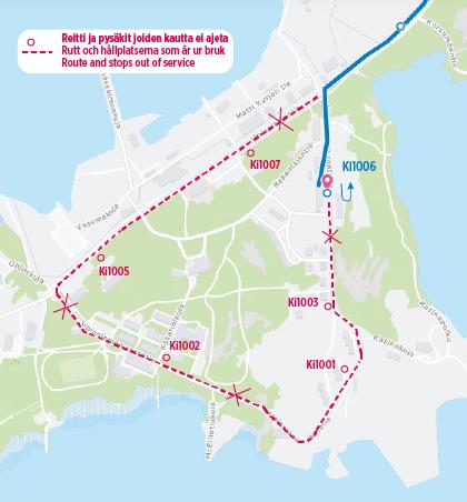 Karta över hållplatserna som är ur bruk då undantagsrutten är i kraft