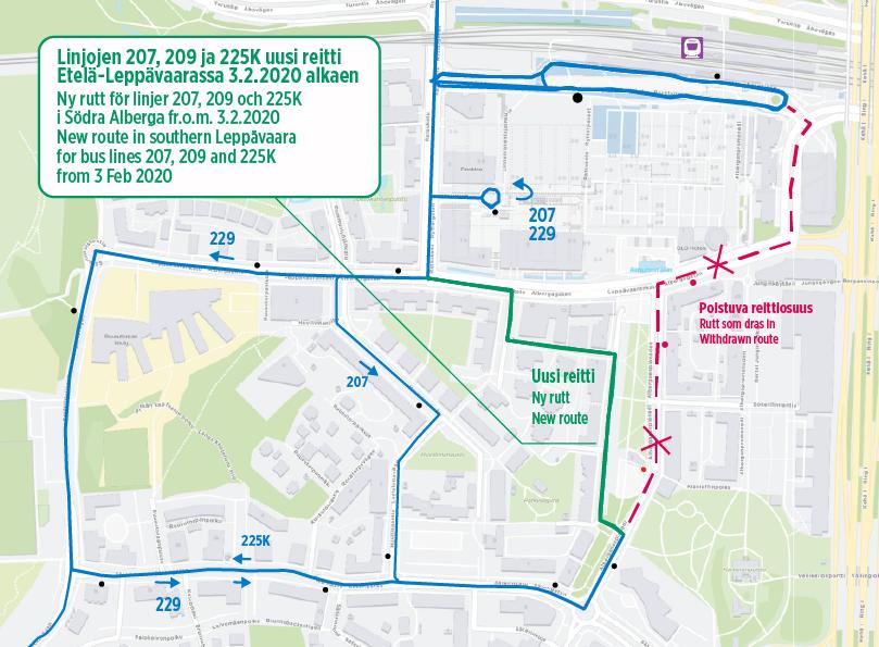 Kartta linjojen 207 225K 229 uudesta reitistä Zanseninkujan kautta Etelä-Leppävaarassa