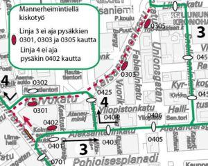 Ratikat 3 ja 4 poikkeusreitillä yöllä 12.10.   HSL