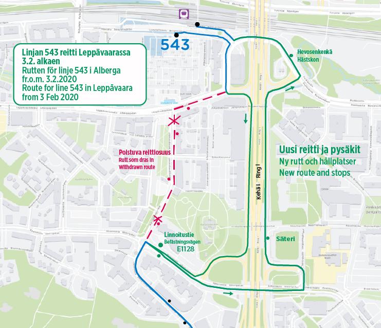 Kartta linjan 543 uudesta reitistä Kehä ykkösen kautta Etelä-Leppävaarassa