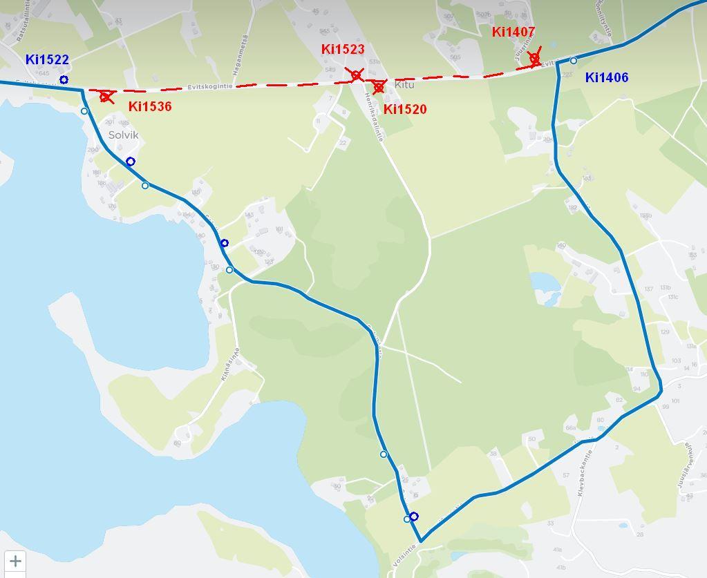 Kartta linjan 909 poikkeusreitistä Evitskogissa