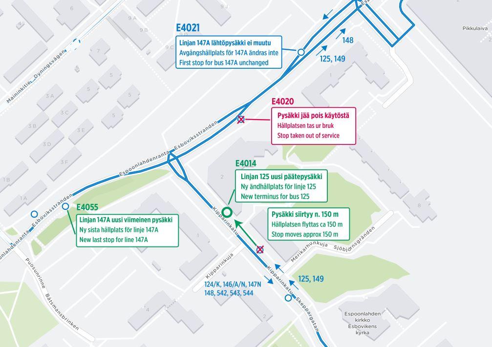 Kartta pysäkkimuutoksista Kipparinkatu ja Espoonlahdenranta