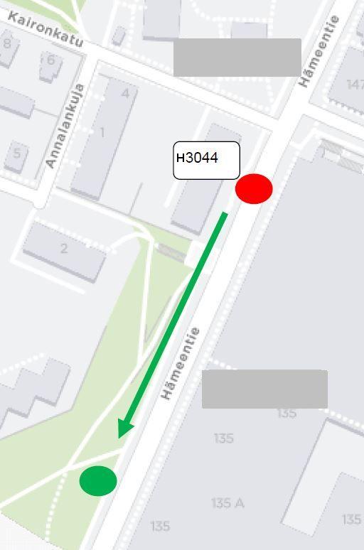 Kartta pysäkin H3044 lähisiirrosta