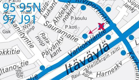 Kartta Karhulantien pysäkin H4346 siirto