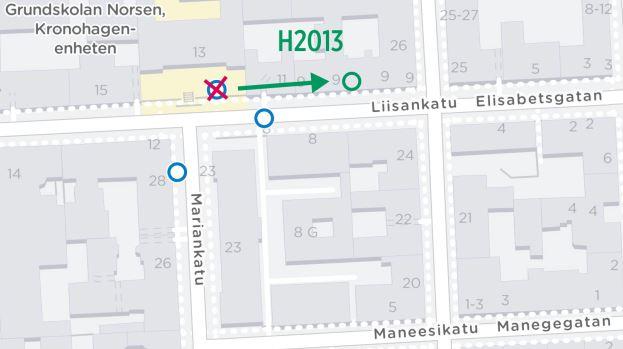 kartta siirtyvästä pysäkistä H2013