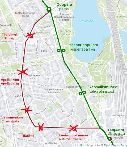 Kartta raitiolinjan 2 poikkeusreitistä