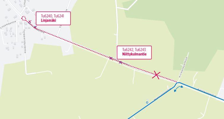 Kartta poistuvista pysäkeistä