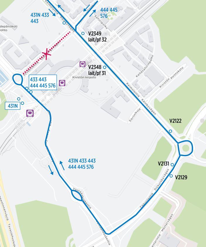 Kartta Keimolan ja Seutulan suunnan bussien poikkeusreiteistä