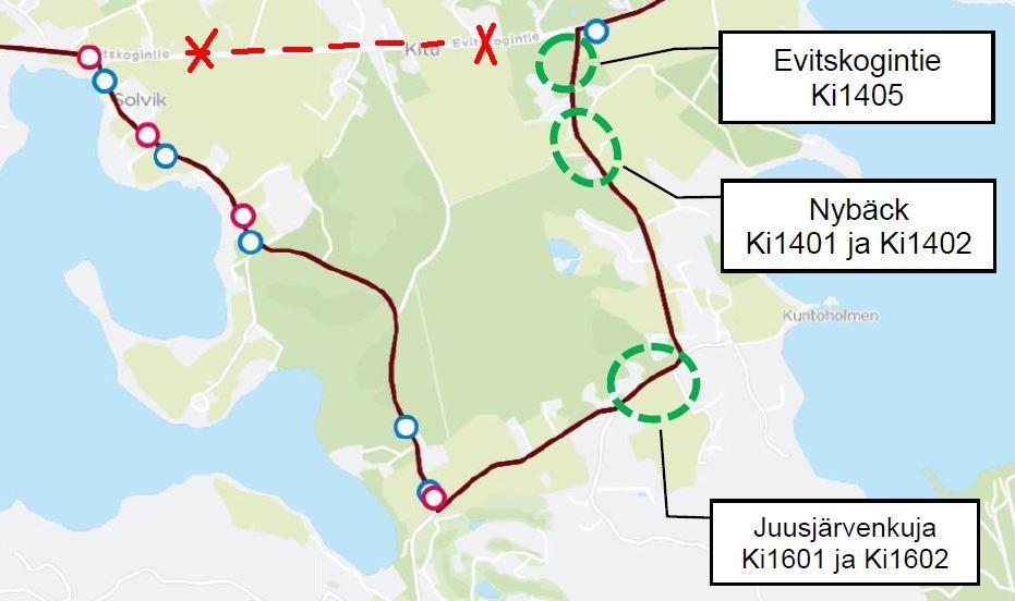 Kartta käyttöön otettavista pysäkeistä Juusjärventiellä