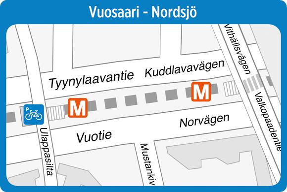 Pyöräparkki Vuosaaren metroasemalla
