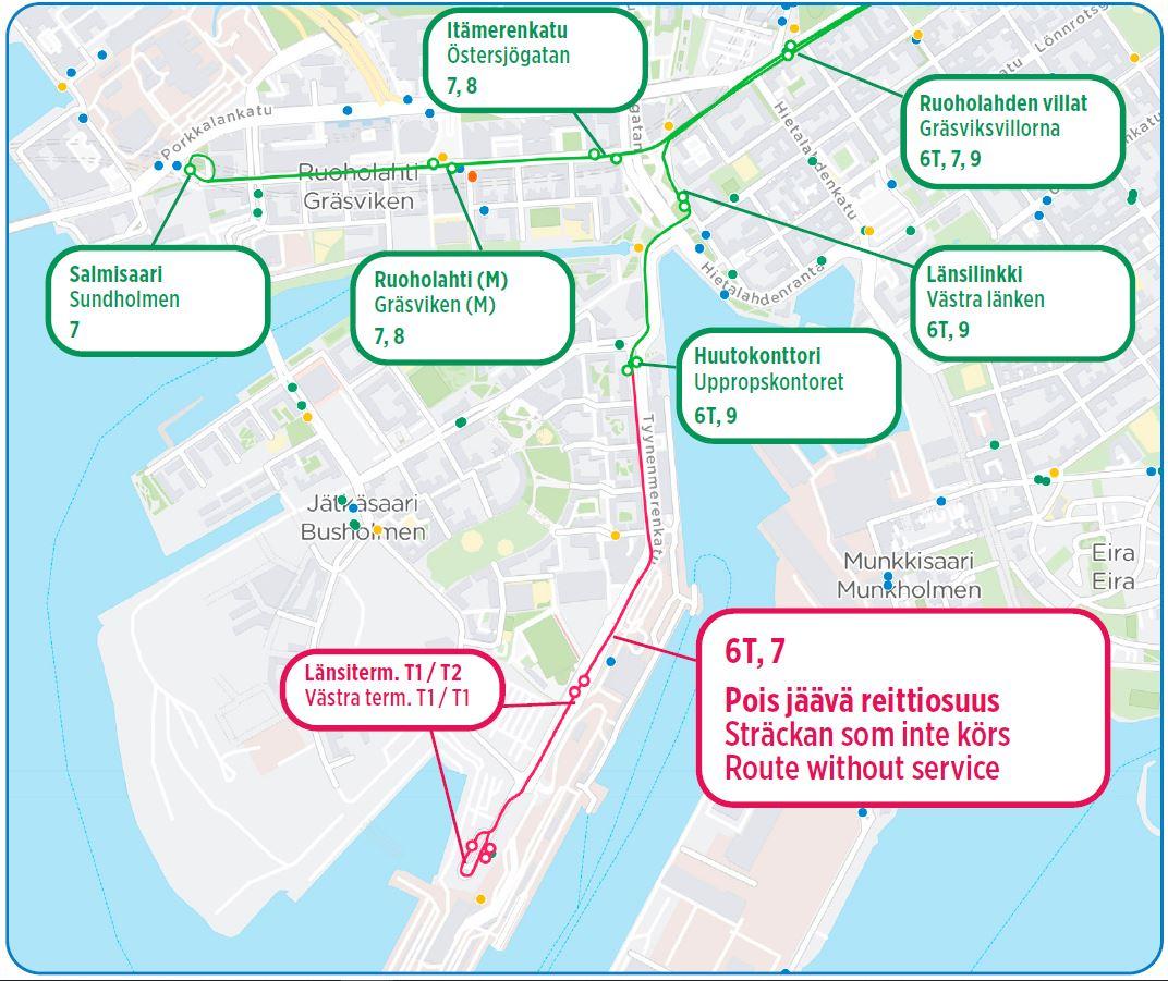Raitiovaunujen muutokset kartalla tekstin mukaisesti