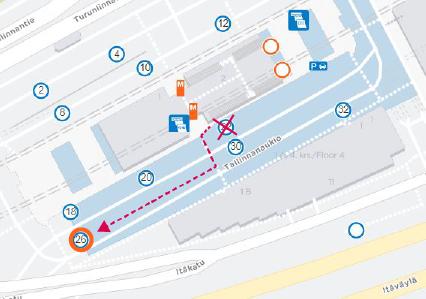 Kartta laiturin 26 sijainnista Itäkeskuksen terminaalista