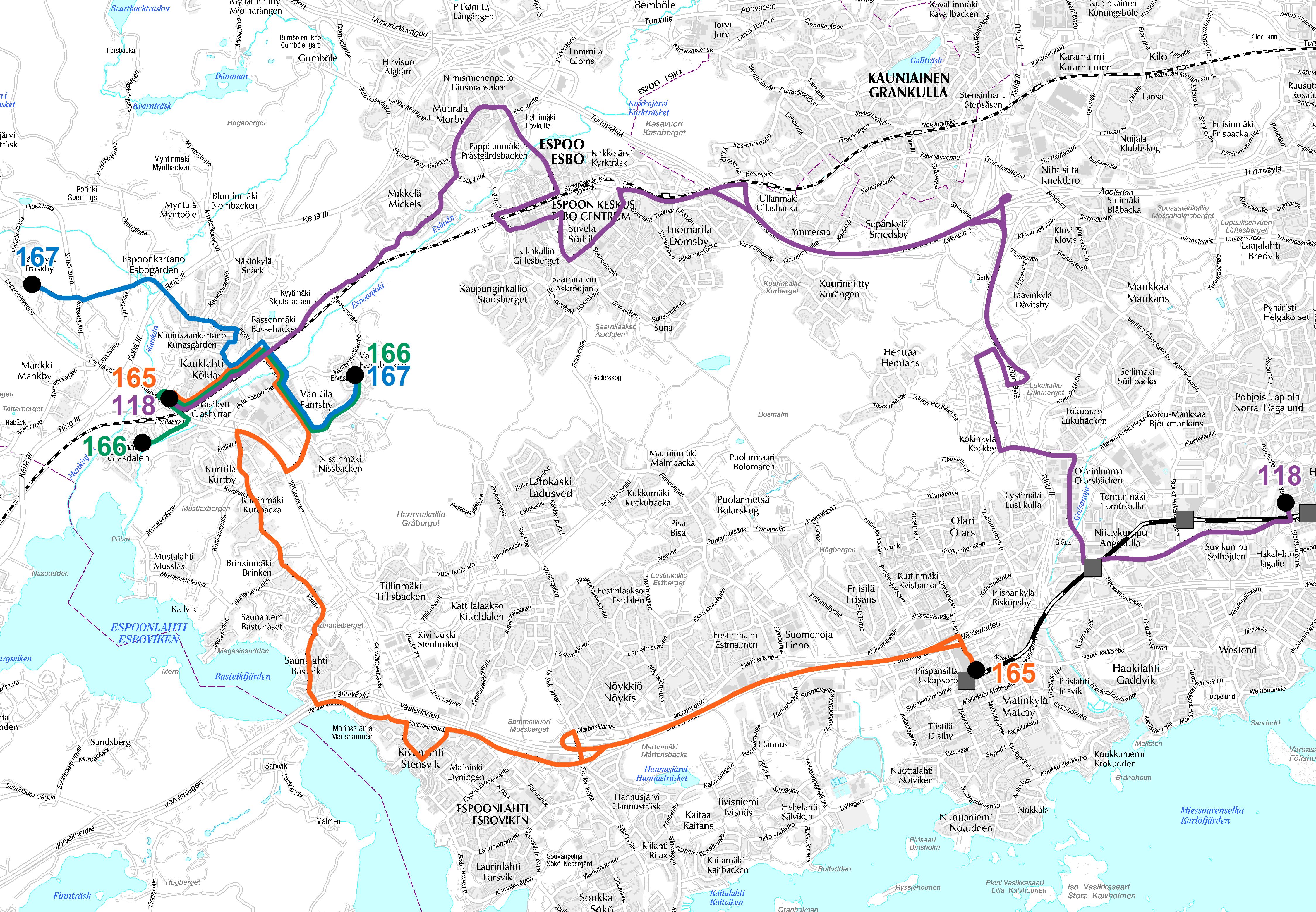 Kauklahden alueen bussilinjat metron liityntäliikenteessä