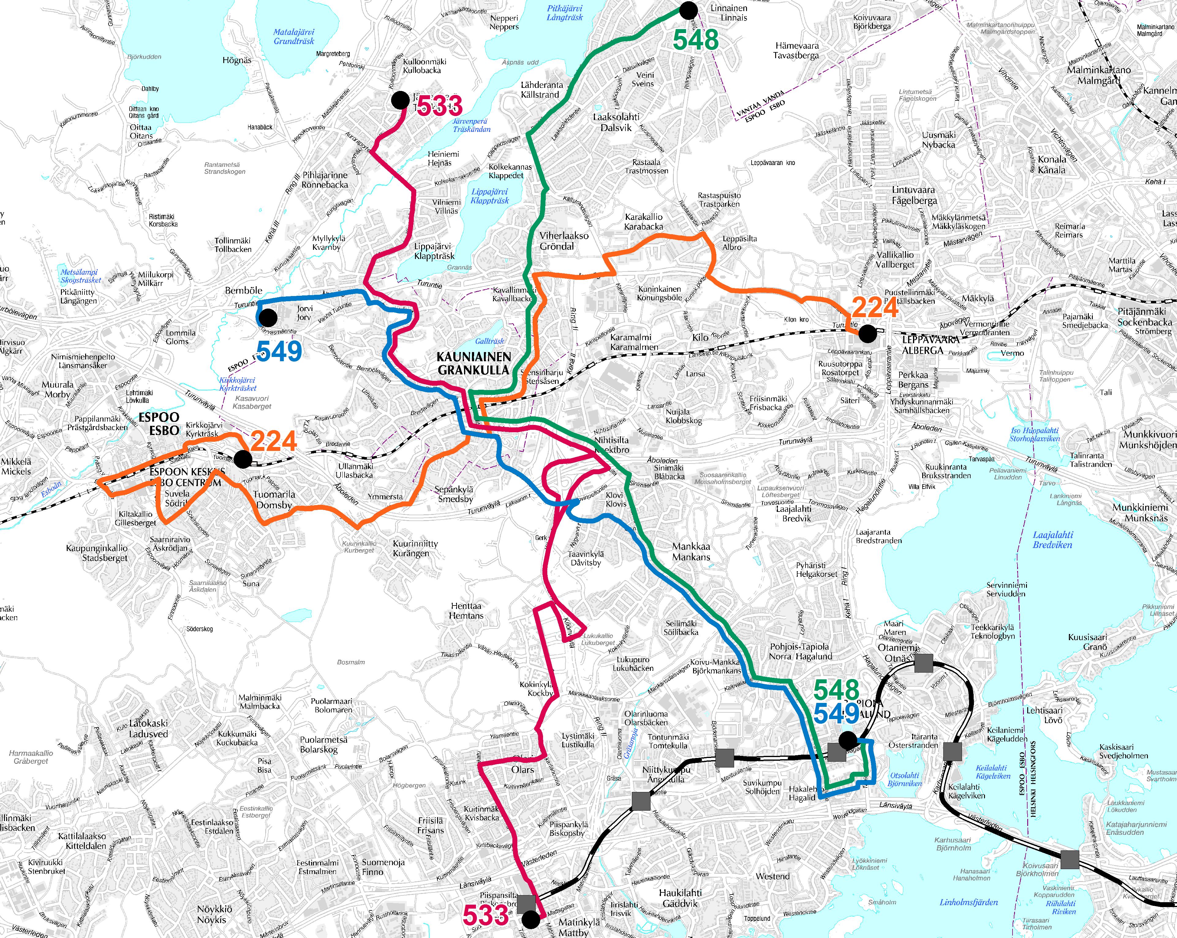 Kauniaisten uudet bussilinjat 15.8.2016 alkaen