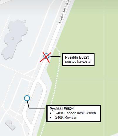 kartta pysäkkien E6823 ja E6824 sijainneista Kellonummella