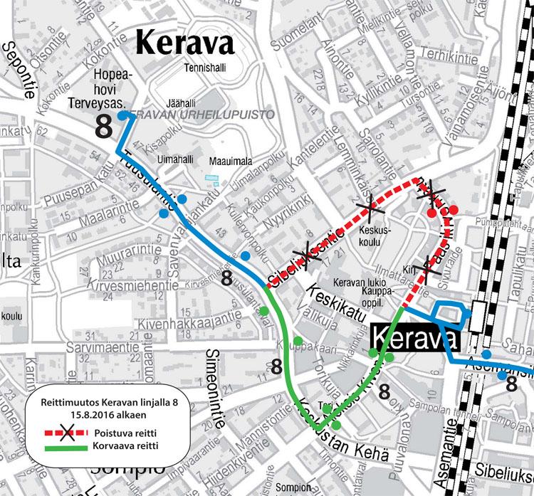 Keravan linjan 8 reitti 15.8.2016 alkaen
