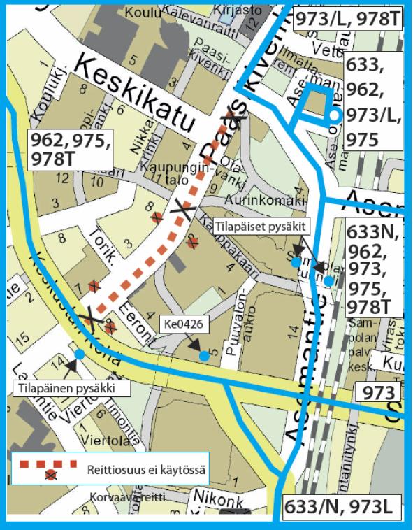 Bussit ajavat Asemantien kautta, Aleksis Kiven tie jää ajamatta.