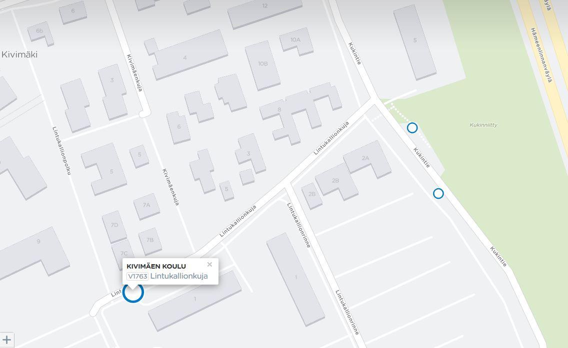 Kivimäen koulun pysäkki kartalla Lintukallionkujan päässä