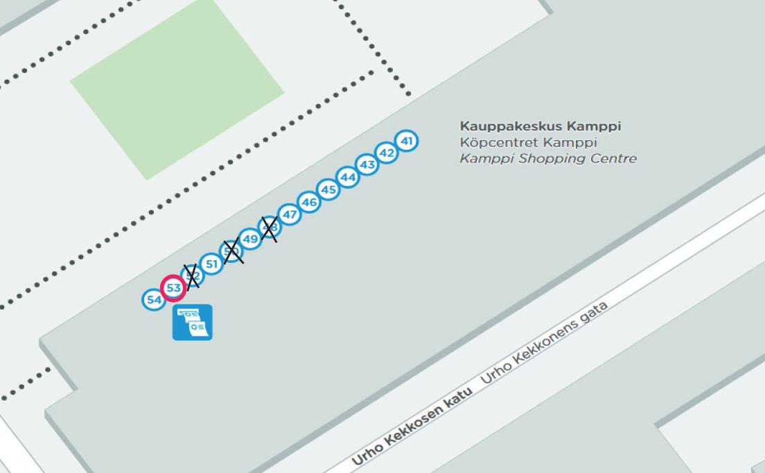 Kampin lähiliikenneterminaalin laiturit 48,50 ja 52 suljettuina kukin yhden päivän 17.8-19.8 välisenä aikana.