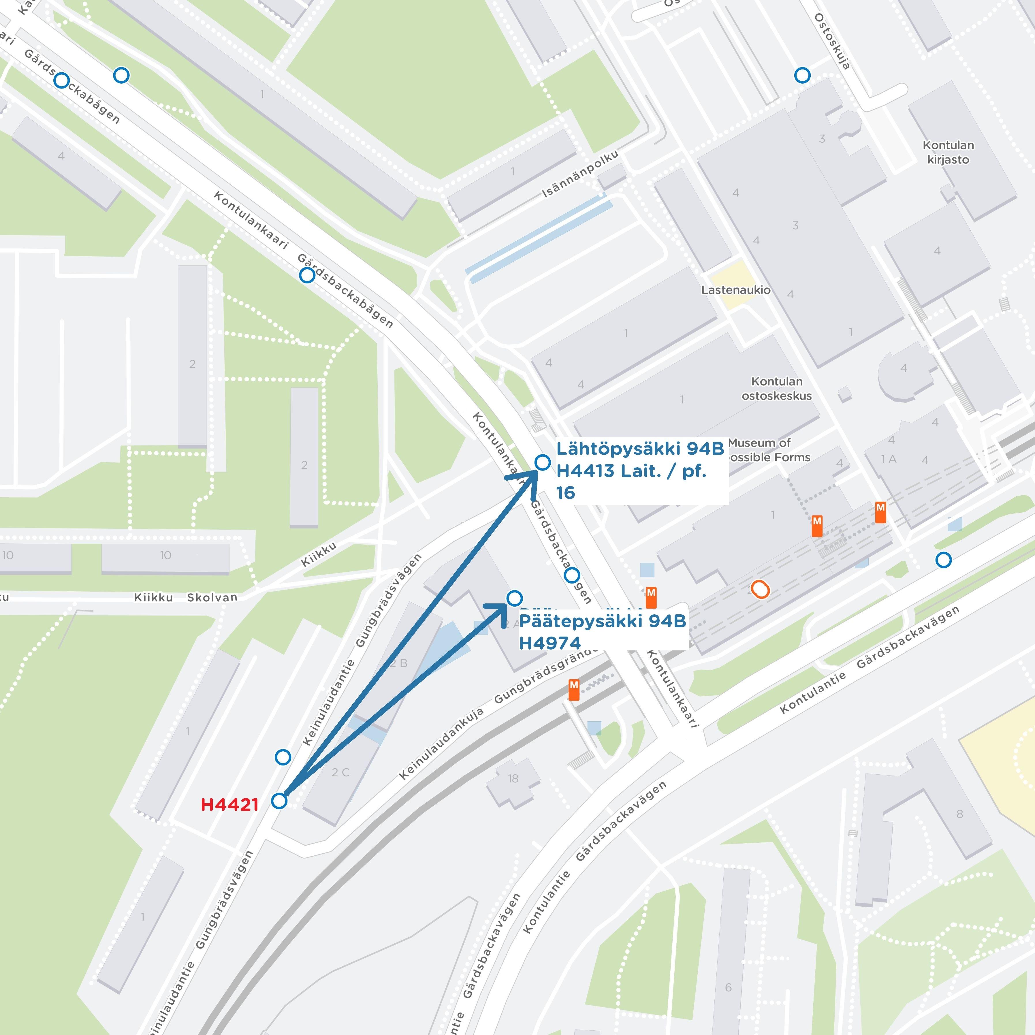 Linja 94B siiryy Kontulassa terminaalin laituriin 16