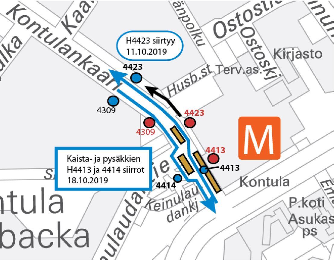 Pysäkki H4423 siirtyy 11.10.n. 100 metriä eteenpäin.18.10.2019 klo 10.00 H4414 ja 4413 siirtyy keskikorokkeelle