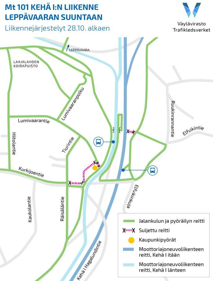 Kartta uusista kävely-yhteyksistä Kurkijoentien pysäkeille