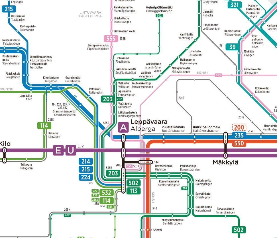 Skemaattinen kartta Pohjois-Espoon ja Leppävaaran uudesta bussilinjastosta 12.8.2019 alkaen