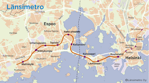 Länsimetron kartta
