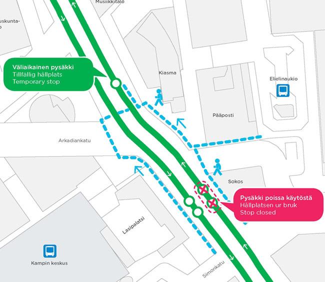 Lasipalatsin ratikkapysäkki siirtyy 23.6.2014